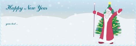 Papá Noel y árbol de navidad stock de ilustración