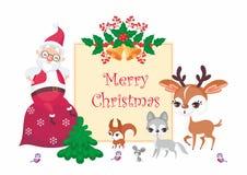 Papá Noel y animales del arbolado stock de ilustración