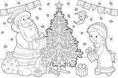 Papá Noel y doncella de la nieve ilustración del vector