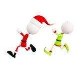Papá Noel y duendes con actitud de funcionamiento Imagen de archivo