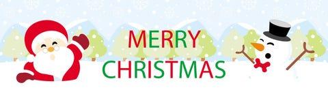 Papá Noel y muñeco de nieve en nieve con Feliz Navidad de los gráficos del texto imagen de archivo libre de regalías