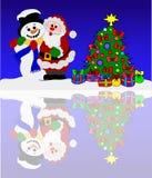 Papá Noel y muñeco de nieve en un mar del invierno stock de ilustración