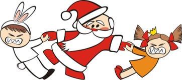 Papá Noel y niños libre illustration