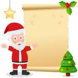 Papá Noel y pergamino viejo Imagen de archivo libre de regalías