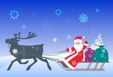 Papá Noel y reno - 2 Ilustración del Vector