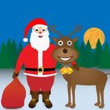 Papá Noel y reno. Imágenes de archivo libres de regalías