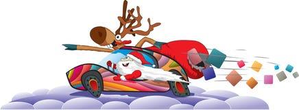 Papá Noel y reno Fotografía de archivo libre de regalías