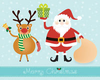 Papá Noel y reno Imagenes de archivo