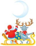 Papá Noel y reno Imágenes de archivo libres de regalías