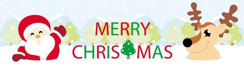 Papá Noel y reno en nieve con Feliz Navidad de los gráficos del texto stock de ilustración