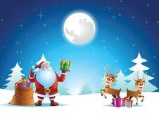 Papá Noel y reno listos para enviar el regalo todo el mundo el noche de Navidad libre illustration