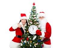 Papá Noel y Santa Giirl Imágenes de archivo libres de regalías
