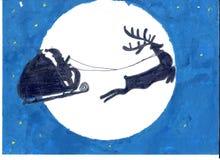 Papá Noel y su reno en la luna y el fondo azul marino del cielo imagen de archivo libre de regalías