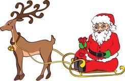 Papá Noel y trineo Imágenes de archivo libres de regalías