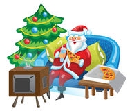 Papá Noel y TV Fotografía de archivo