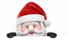 Papá Noel y una tarjeta en blanco Imagen de archivo