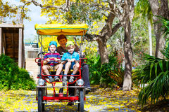 Papá y dos muchachos del niño biking en la bicicleta Fotografía de archivo libre de regalías
