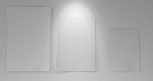 3 papéis a bordo com para baixo luz Imagem de Stock Royalty Free