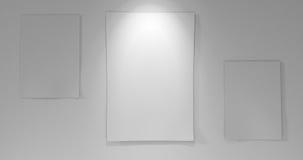 3 papéis a bordo com para baixo luz Fotos de Stock