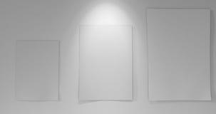 3 papéis a bordo com para baixo luz Foto de Stock