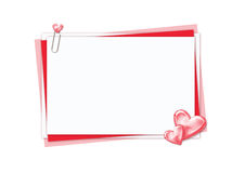 Papéis brancos e vermelhos com corações Foto de Stock