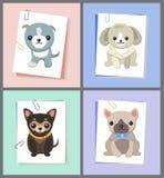 Papéis com ilustração do vetor do grupo de imagens dos cães ilustração royalty free