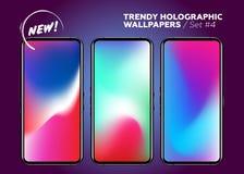 Papéis de parede holográficos multicoloridos do vetor para Smartphone Foto de Stock