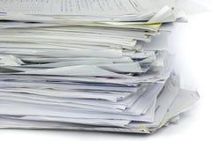 Papéis de trabalho acima empilhados do escritório Fotografia de Stock