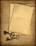 Papéis e chaves de Grunge Imagens de Stock