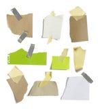 Papéis e post-it com fundo branco fotografia de stock