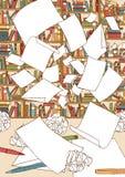 Papéis vazios, voando acima de uma mesa de escritório ilustração stock