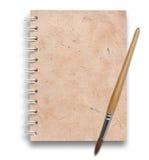 Papéis velhos do caderno com escova de pintura Imagens de Stock Royalty Free