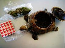 Papéis vermelhos pequenos da vara do cannabis do Lsd com detalhes macro de um papel de parede do fundo da tartaruga foto de stock
