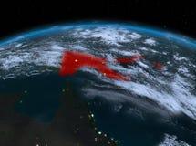 Papúa Nueva Guinea del espacio en la noche Foto de archivo libre de regalías