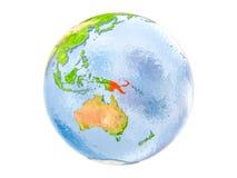 Papúa Nueva Guinea en el globo aislado Fotografía de archivo