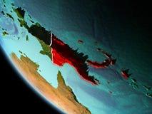 Papúa Nueva Guinea en la noche en la tierra Fotografía de archivo libre de regalías