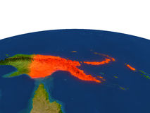 Papúa Nueva Guinea en rojo de la órbita ilustración del vector