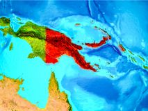 Papúa Nueva Guinea en rojo en la tierra Fotos de archivo libres de regalías