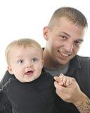 Papà e figlio felici Immagine Stock