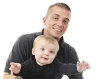 Papá e hijo jovenes orgullosos Imagenes de archivo