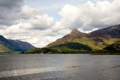 Pap of Glencoe. A Scottish landscape as seen from Ballachuillish, looking towards Loch Leven and the Pap of Glencoe royalty free stock photo