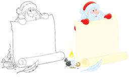 Papá Noel con el anuncio Imágenes de archivo libres de regalías