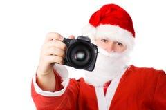 Papá Noel con las cámaras digitales modernas Fotos de archivo libres de regalías