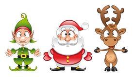 Papá Noel, duende, Rudolph Imagenes de archivo