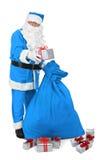Papá Noel en traje azul Foto de archivo libre de regalías