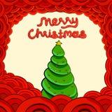 Papá Noel en un trineo Deletreado de la Feliz Navidad Imagenes de archivo