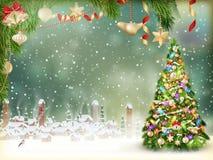 Papá Noel en un trineo EPS 10 Fotografía de archivo libre de regalías