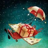 Pap? Noel en un trineo imagen de archivo libre de regalías