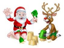 Papá Noel y playa del verano de la Navidad del reno Imágenes de archivo libres de regalías