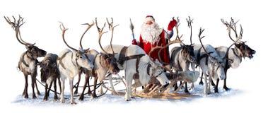 Papá Noel y sus ciervos Imágenes de archivo libres de regalías